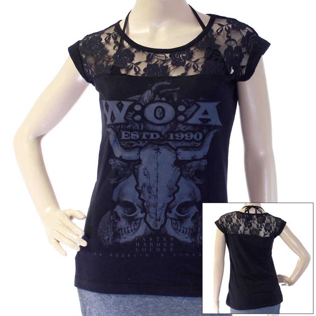 W:O:A - Girlie Top - Skulls Lace -